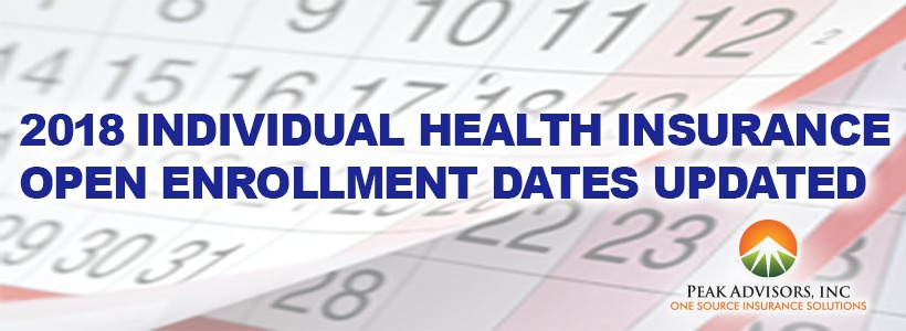 2018 Individual Health Insurance Open Enrollment Dates Updated